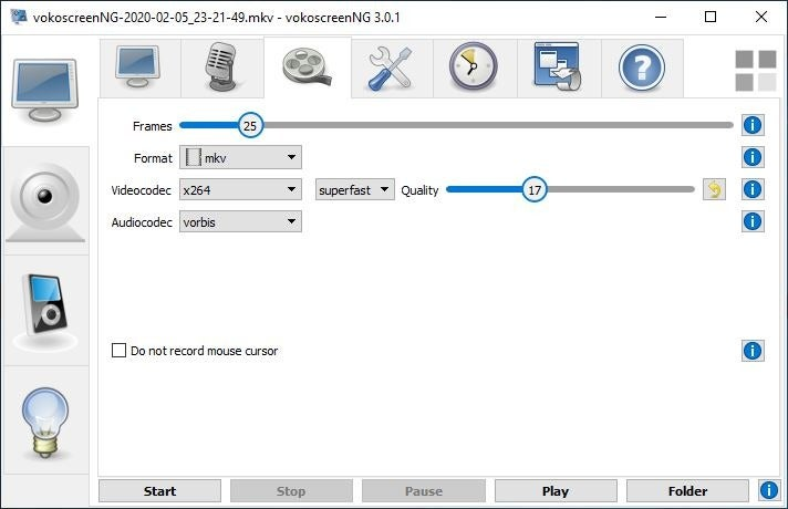 VokoscreenNG video settings
