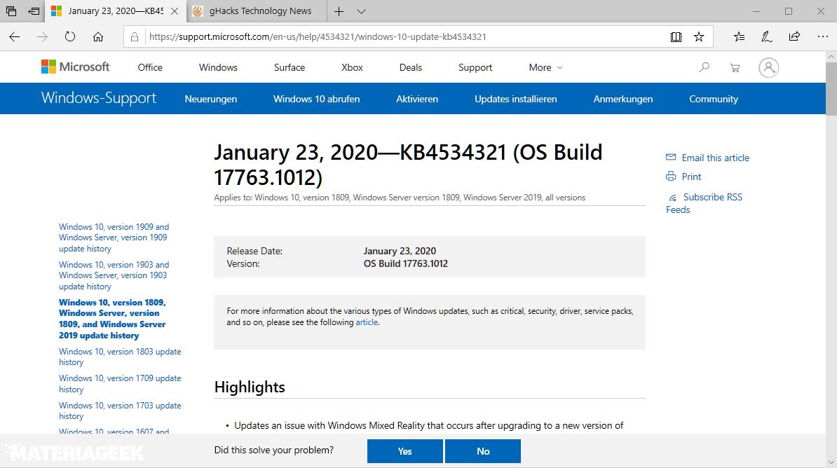 actualización de Windows 10 KB4534321 KB4534308
